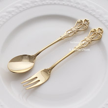 2 uds oro Vintage cuchara, tenedor, cubiertos 18/10 de acero inoxidable de lujo Mini pequeño postre cucharas y tenedores para fiesta