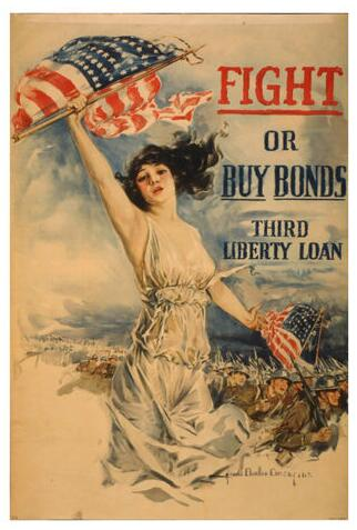 fight or buy bonds vintage AMERICAN FLAG PATRIOTIC SILK POSTER Decorative painting 24x36inch image