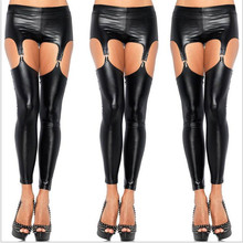 2016 Sexy Punk Rock Garter Buckle Wetlook PU Leather Leggings Vinyl Strap Pants Trousers Black Shiny Leggings