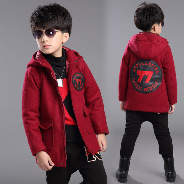 Italian casual style boys orange zip worsted check wool tweed jacket overcoat children winter hooded woolen coat 3 colors