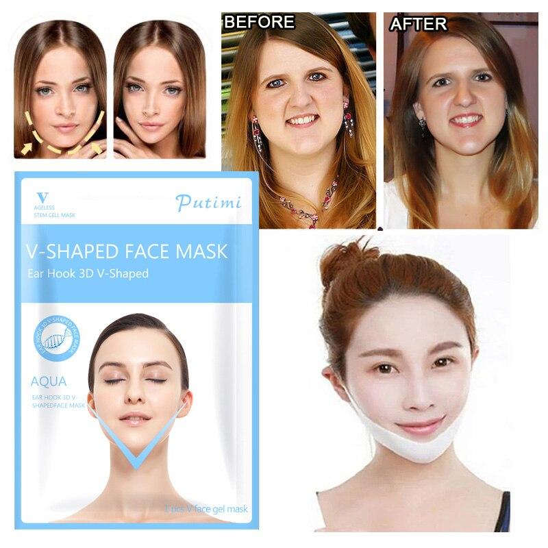 PUTIMI 4Pcs Face Masks Care Lifting V Shape Mask For Face Lift Chin Slim Peel Off Mask Face Women Female V Shaping Slimming Mask