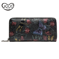 The new women's style of the wind of the noble craft recipe retro elegant design printed wallet butterfly flower wild fashion wa