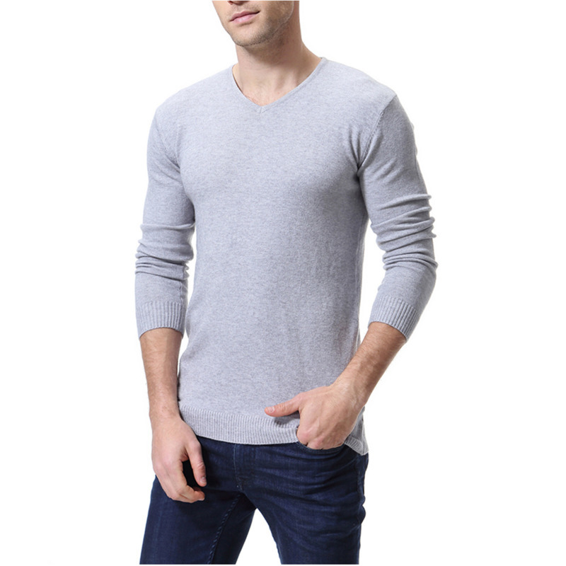 Autumn Winter New Knitting Mens V-neck Solid Color Long Sleeved Casual Sweater Pullover Men Slim Fit Homme Clothes 6 Colors