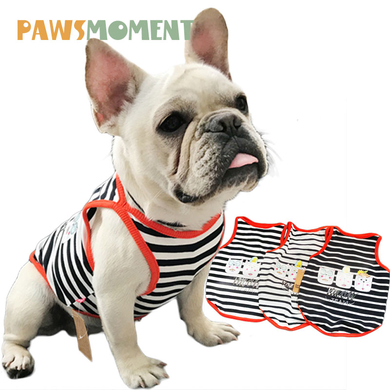 2018 Hot Pet Spring Summer Clothes for Dogs Cartoon Cat Printing Striped Dog Cotton Vest Tshirt for Cat Small Medium Dogs S-4XL