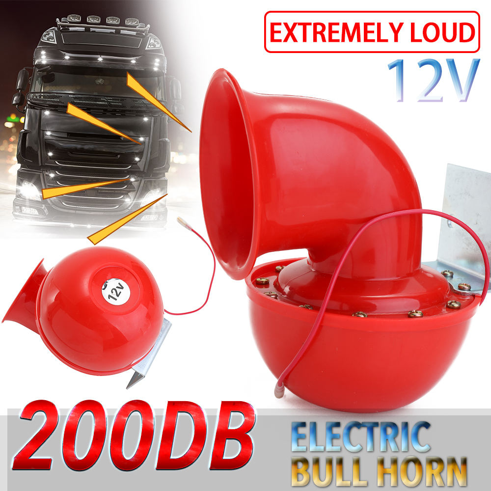 Loud 200DB 12V Red Electric Bull Horn Air Horn Raging Sound For Car Motorcycle Truck Boat 2019