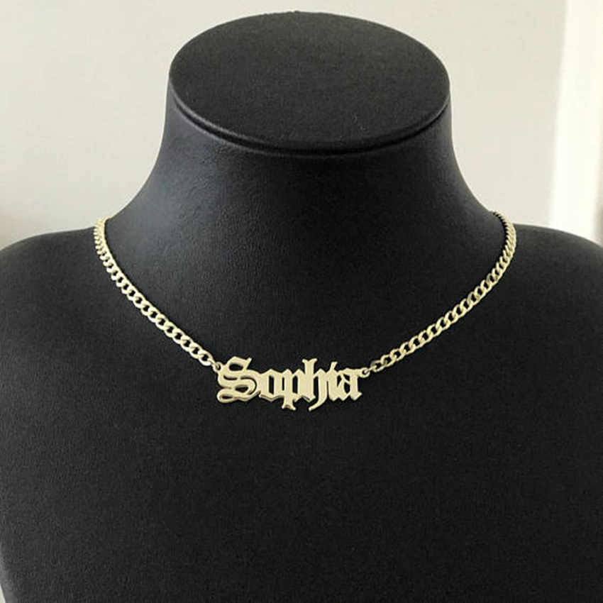 Gold Silver Curb Chain Choker Custom Name Pendant Necklace Personalized Jewelry Christmas Gift Old English Font Long Necklaces