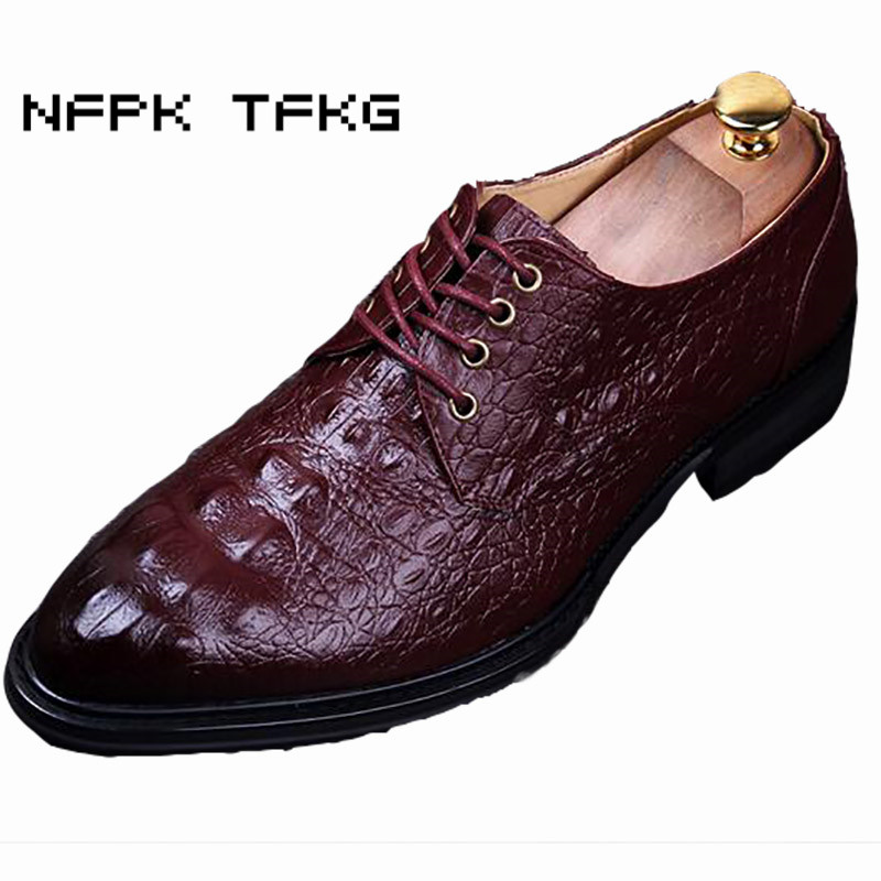 men's fashion crocodile pattern genuine leather shoes soft breathable business wedding party dress flats oxfords shoe zapatos top quality crocodile grain black oxfords mens dress shoes genuine leather business shoes mens formal wedding shoes