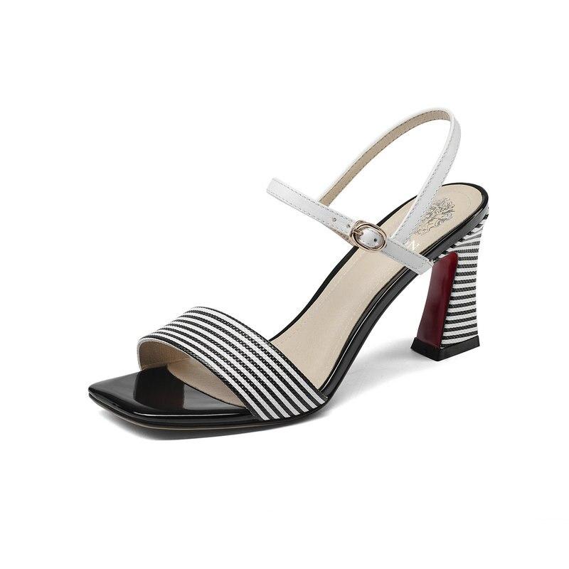Sommer Elegante High grün Leder Salu Schuhe Echtem Strap Marke Heel Frau Weiblichen Ankle Heels Frauen Schwarzes Pumps Sandalen zRw4Aqw5