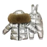2018 зима 90% белая куртка пуховик мальчики девочки лыжный костюм Комплекты детской одежды из натурального меха енота воротник куртки костюм д
