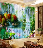 Chinese Oil Painting Bedroom Curtains Living Room Curtains Nature scenery Curtains For Window Modern Children Curtains