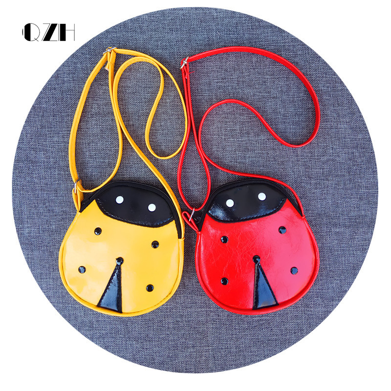 QZH Cartoon Little Baby Girls Boys Messenger Bags Ladybug Mini Shoulder Bag Crossbody Kids Children Zero Purse Pouch Handbags girls mini messenger bag cute plush cartoon kids baby small coin purses lovely baby children handbags kids shoulder bags bolsa