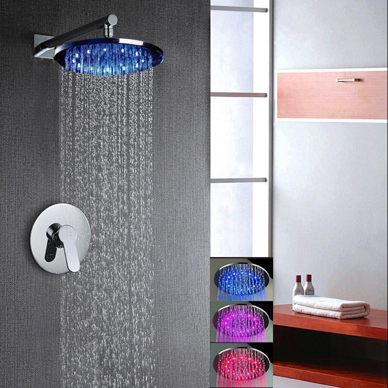 ФОТО LED Round Rain Shower Head Wall Mounted Shower Arm Single Handle Mixer Tap