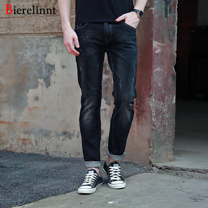 New Arrival 2017 Autumn& Winter Black Elastic Ripped Hole Straight Slim Fit Jeans Men,Good Quality Cotton Denim Men Jeans,158041