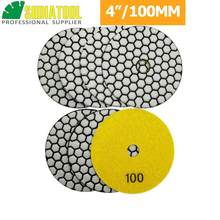 DIATOOL 7pcs 100mm Grit #100 Diamond Dry Polishing Pad For Granite & Marble, 4inch Sanding Disc For Stone Without Water