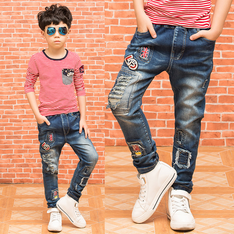 Fashion cool font b boys b font jeans spring autumn trousers children font b denim b