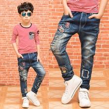 Fashion cool boys jeans spring autumn trousers children denim pants kids clothes