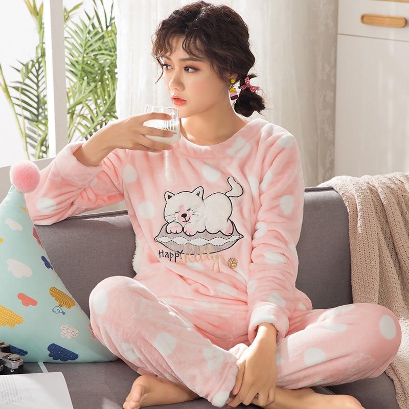 Coral velvet pajamas ladies autumn and winter plus velvet thickening cartoon fresh  flannel comfortable warm home service suit