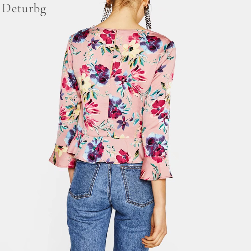 Radient Lady Floral Printed Long Sleeve Mock Neck Blouse Autumn Holiday Beach Casual New Blouses & Shirts