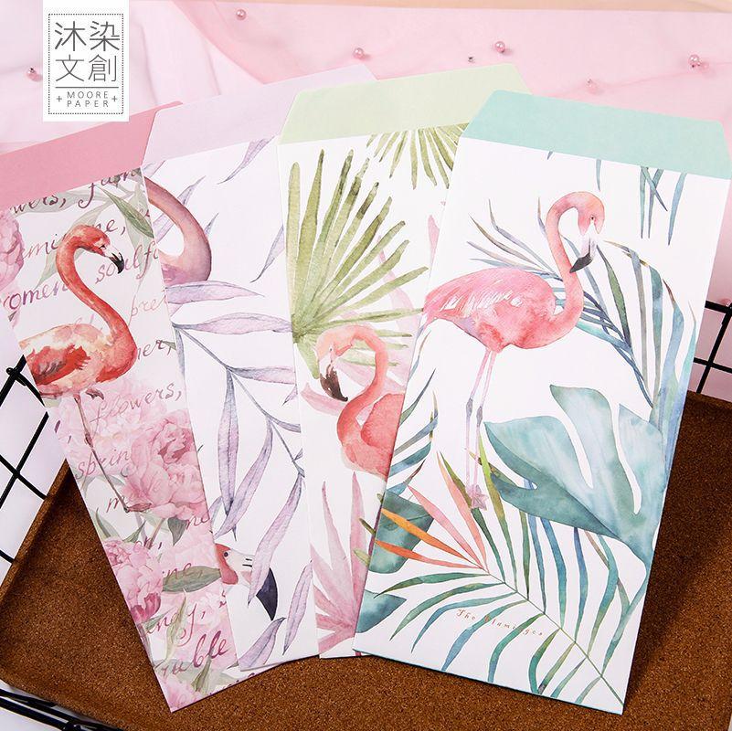 9pcs/Set 3 Envelopes + 6 Sheets Letter Paper Creative Flamingo Series Envelope For Gift Korean Stationery