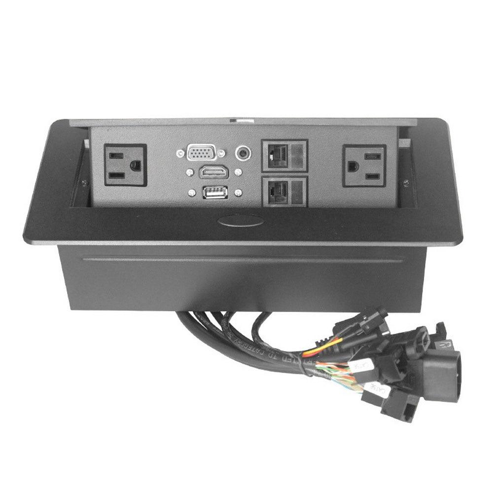 Prise de bureau prise USB universelle salle de conférence POP UP Table prise en alliage de Zinc panneau VGA Audio HDMI Interface réseau USB