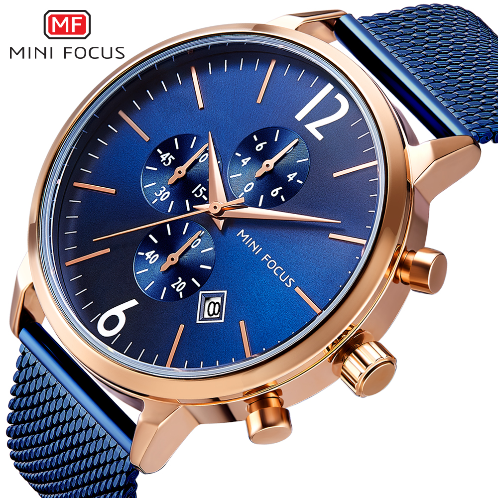 Men's Watches Watches Mini Focus Royal Business Watch Men Quartz Top Brand Luxury Mesh Strap 3 Dial 6 Hands Chronograph Waterproof Dress Wristwatches
