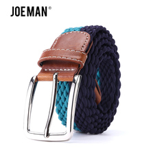 Strong Elastic Casual Belt Waistband Braided Men's Fabric Leather Elastic Woven Stretch Belt 1-3/8