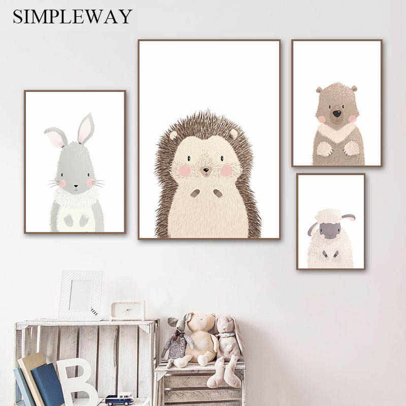 Cute Animal Bear Sheep Child Poster Baby Nursery Wall Art Canvas Print Painting Nordic Decoration Wall Picture for Kids Bedroom