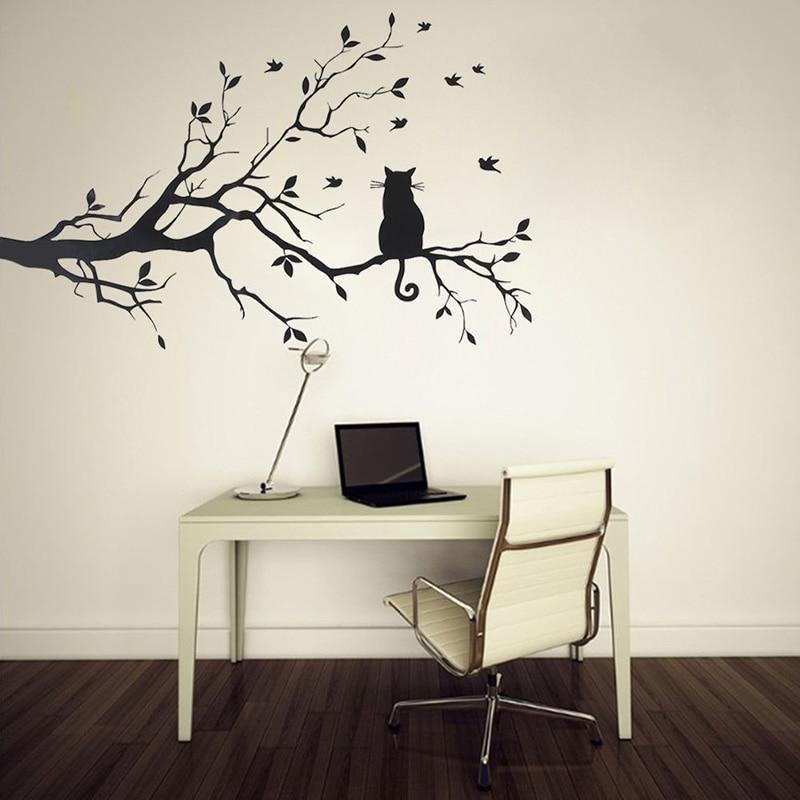 Cat On Long Tree Branch DIY Vinyl Wall Sticker Decals Wall Art ...