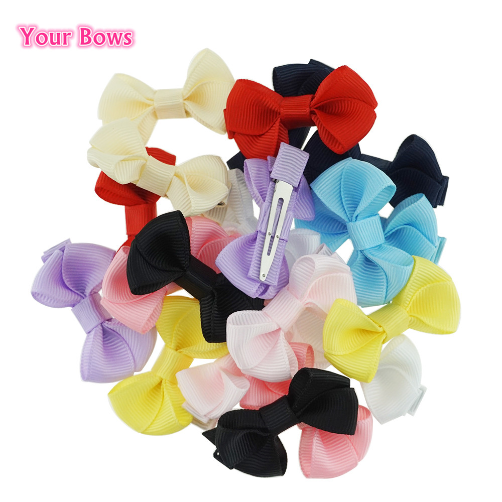 (2Pieces/Lot) 2 inch 10Colors Girls Ribbon Hair Bows Girl Hairpins solid Colors   Headwear   Kids Hair Accessories