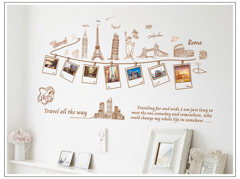 Creative DIY Travel All The Way London Roma Paris Buildings Gallery Photo Frame Wall Sticker Home