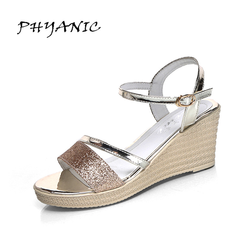 PHYANIC 2017 Gladiator Sandals Gold Silver Shoes Woman Summer Platform Wedges Glitters Creepers Casual Women Shoes PHY3323 lanshulan wedges gladiator sandals 2017 summer peep toe platform slippers casual glitters shoes woman slip on flats creepers