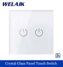 WELAIK Kristall Glas Panel Switch EU Wandschalter Remote Touch Schalter Bildschirm Wandleuchte Schalter 2gang1way für led-lampe A1923W/B