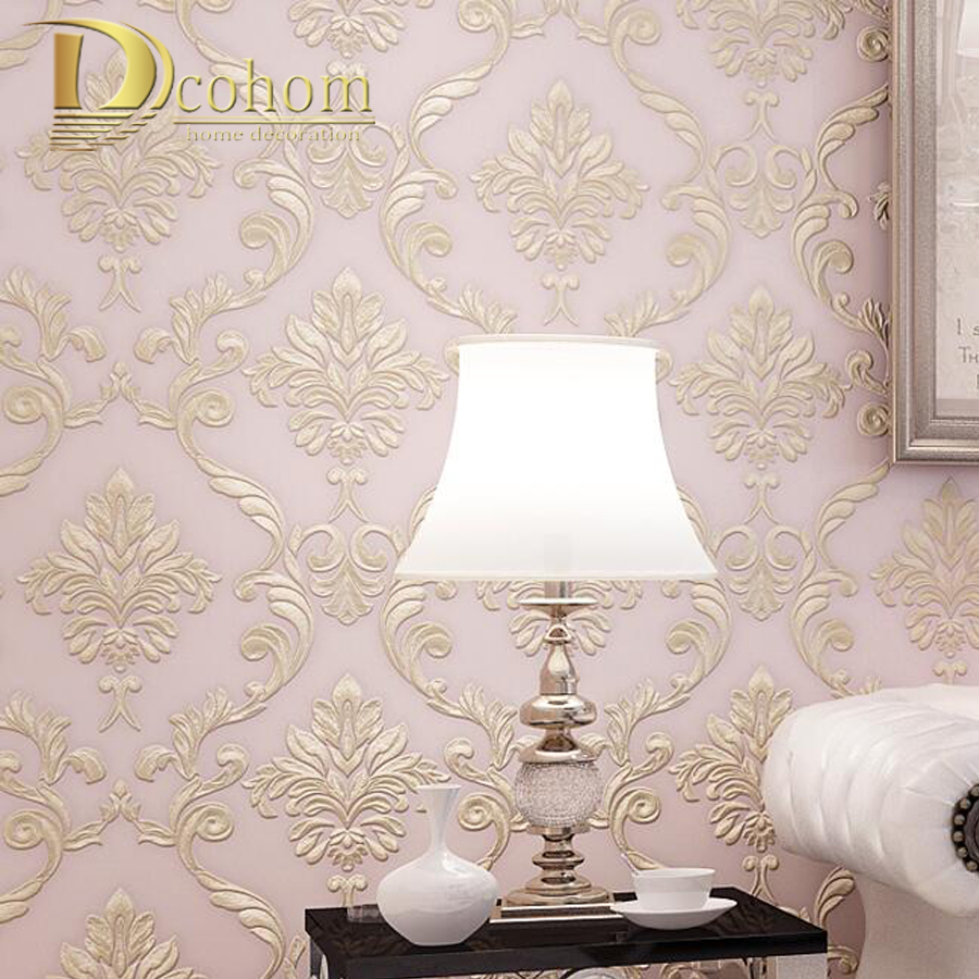 modern simple beige pink damask damask wallpaper for. Black Bedroom Furniture Sets. Home Design Ideas