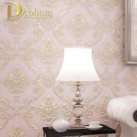 moderne einfache beige rosa damast wallpaper fr wnde 3 d europischen luxus schlafzimmer dekor vlies tapeten - Luxus Schlafzimmer Wnde