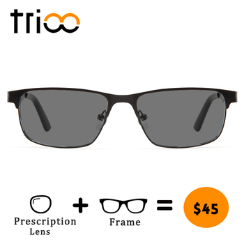 TRIOO UV400 Driving Prescription Glasses for men Black Tint Lens Sunglasses with diopters Nearsighted Driver Sun Glasses Myopia