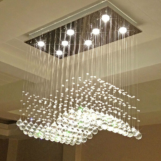 Z Modern Wave Shaped Clear K9 Crystal Lamps Luxury Restaurant Bedroom Hanging Wire Lighting Fixture