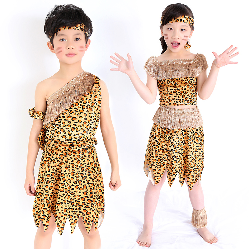 Six one adult children savage costumes costumes dance African tribal Hunter Indian leopard loaded short dresses office wear