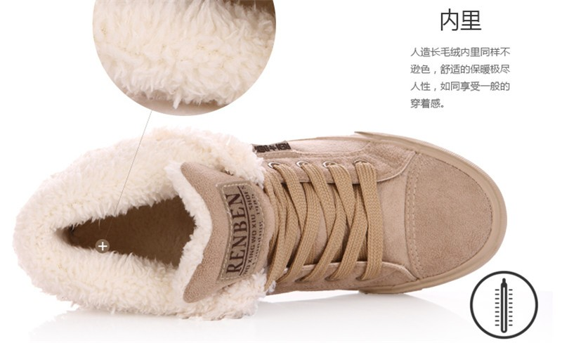 New Women Winter Faux Suede Leather Warm Plush Ankle Boots Autumn Women Shoes Fur Snow Boots Comfortable Running Shoes Sneakers 29