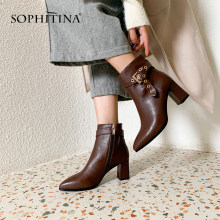 SOPHITINA Sexy Pointed Toe Boots High Quality Cow Leather Fashion Comfortable Square Heel Shoes Elegant New Women's Boots MO254(China)