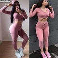 3 COLORS PLUS SIZE,Knitted Hooded Sweatshirts +Leggings,Korea Tracksuits Winter Two Pieces Crop Top Ringer Tee + Skinny Pants