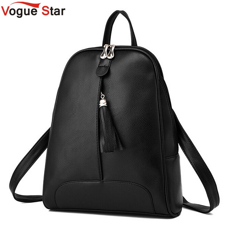 Vogue Star New Fashion Women 's PU Leather Backpack Mochila School Bags Teenagers Female College Students Bag   LS354