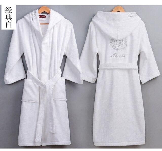 XXL grande taille coton peignoir hiver à capuche grande taille épais chaud hiver Robe de chambre longue Robe de mariée