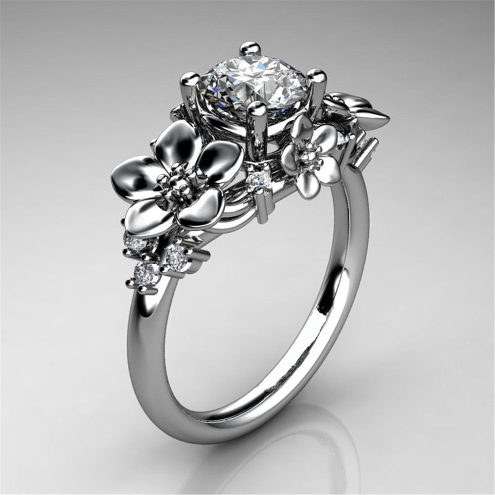 Stone Ring Women Zircon Crystal Big-Flower Female 925-Silver Vintage Fashion Engagement