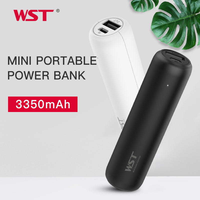WST 3350mAh Mini Power Bank with USB Port For iPhone Samsung Xiaomi External Battery Portable Phone Charger Fast ChargingWST 3350mAh Mini Power Bank with USB Port For iPhone Samsung Xiaomi External Battery Portable Phone Charger Fast Charging