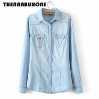 Brand New 2015 Fashion Autumn Women Denim Blouses Long Sleeve Cotton Shirts Pockets Women Work Wear