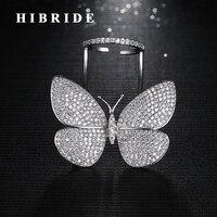 עיצוב ייחודי חדש HIBRIDE לטוס צורת פרפר נשים גודל מתכווננת טבעות אבן CZ מיקרו פייב Anillos טבעת אצבע R-185