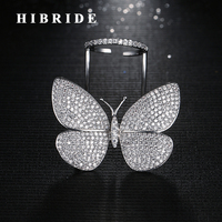 HIBRIDE Nieuwe Unieke Ontwerp Fly Vlinder Vorm Verstelbare Size Vrouwen Ringen Anillos Micro CZ Steen Pave Vinger Ring R-185