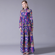 XF 13 S~5XL Oversize 2018 Fashion Designer Runway Summer Fall Women Ruffle Collar Long Sleeves Floral Print Floor Long Dress fashion round collar long sleeves floral print women s mini dress