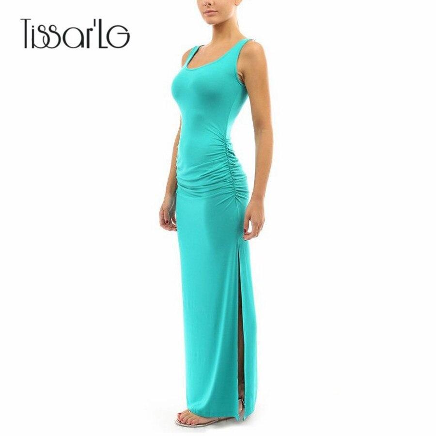 TissarLG Women Summer Long Casual sleeveless tank dress