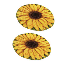 2 ensembles de grands Kits de tapis de crochet de loquet pour les débutants adultes fabrication de coussin de broderie de tournesol à la main(China)